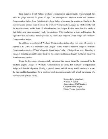 ASSOCIATION OF NJ WORKERS' COMPENSATION JUDGES TENURE